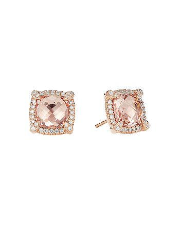 David Yurman - Châtelaine®  Pavé Bezel Stud Earrings in 18K Rose Gold with Morganite