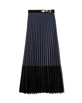 Sandro - Edelweis Pleated Velvet-Hem Midi Skirt