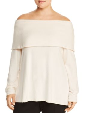 B Collection by Bobeau Curvy Off-the-Shoulder Overlay Sweater