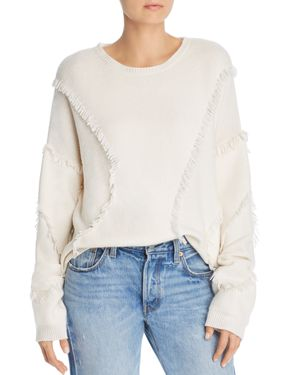 Fringed Cotton-Blend Sweater - White Size L