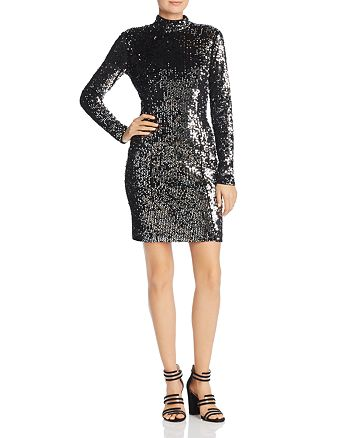 MILLY - Sequin Turtleneck Mini Dress