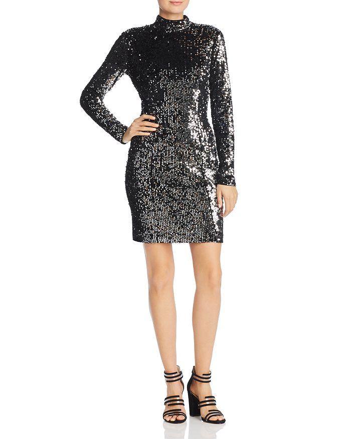 MILLY - Sequin Turtleneck Mini Dress