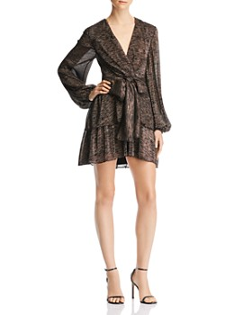 C/MEO Collective - Metallic Tie-Front Mini Dress