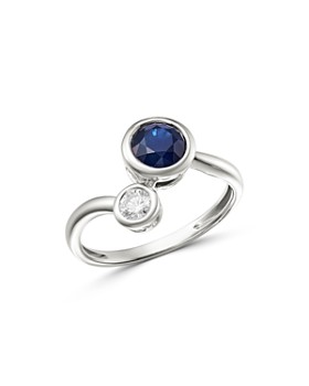 Bloomingdale's - Blue Sapphire & Diamond Bezel Set Bypass Ring in 14K White Gold - 100% Exclusive