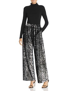 MILLY - Sequined Wide-Leg Track Pants