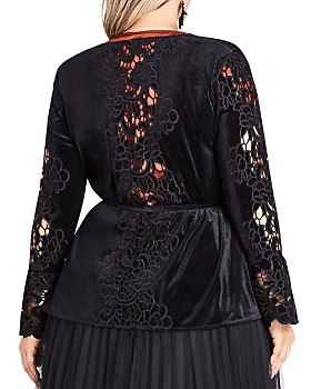 City Chic Plus - Embroidered Velour Kimono Jacket