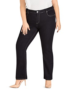 City Chic Plus - Straight-Leg Jeans in Dark Denim