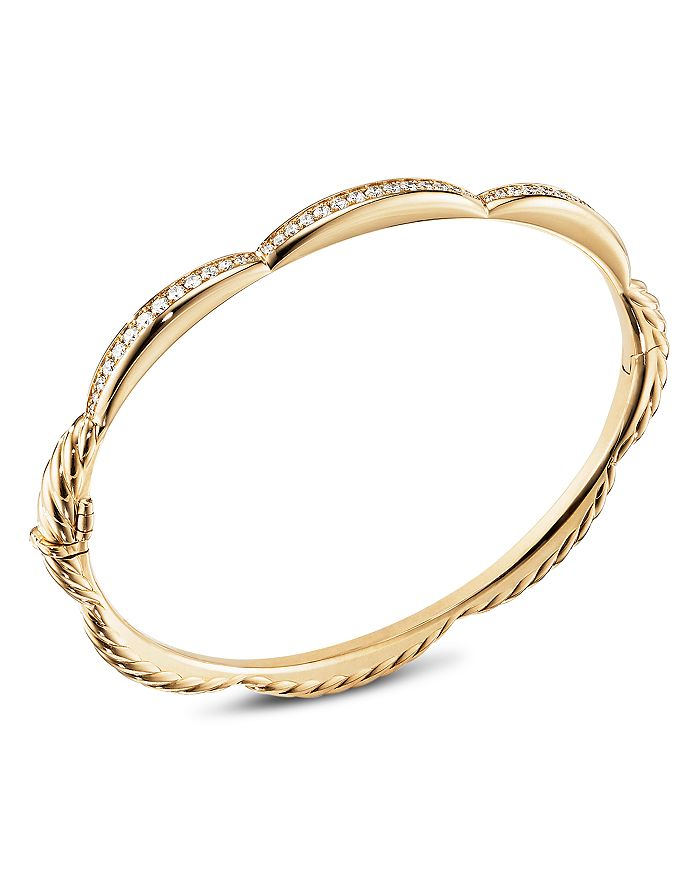 David Yurman TIDES THREE STATION BRACELET IN 18K YELLOW GOLD WITH DIAMONDS