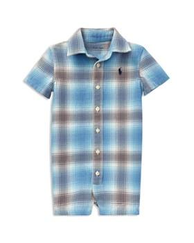 Ralph Lauren - Boys' Plaid Cotton Twill Shortall - Baby