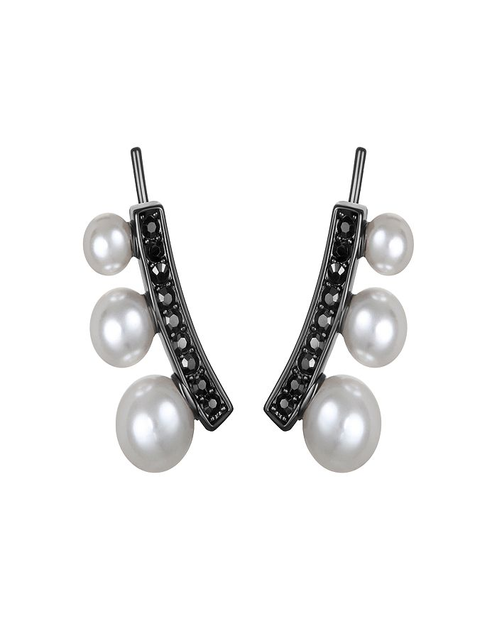 KARL LAGERFELD Paris - Pavé & Simulated Pearl Ear Climber Earrings