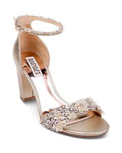 af8df0bb04f Badgley Mischka Women s Seina Embellished Satin Ankle Strap Sandals ...