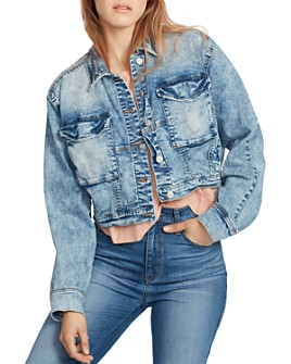 Ella Moss - Cropped Dolman-Sleeve Denim Jacket in Cardi