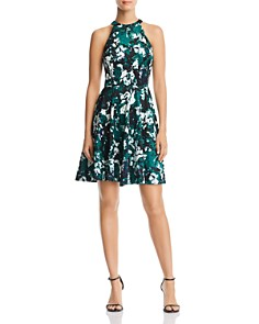 AQUA - Sleeveless Printed Fit-and-Flare Dress - 100% Exclusive