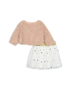 Pippa  Julie Girls FauxFur Sweater  PolkaDot Tutu Skirt Set  Baby