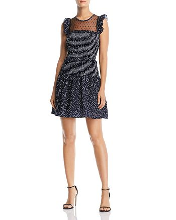 AQUA - Sleeveless Smocked Dot-Print Dress - 100% Exclusive