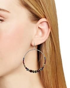 Chan Luu - Beaded Stone Frontal Hoop Earrings in Gunmetal-Tone Plated Sterling Silver