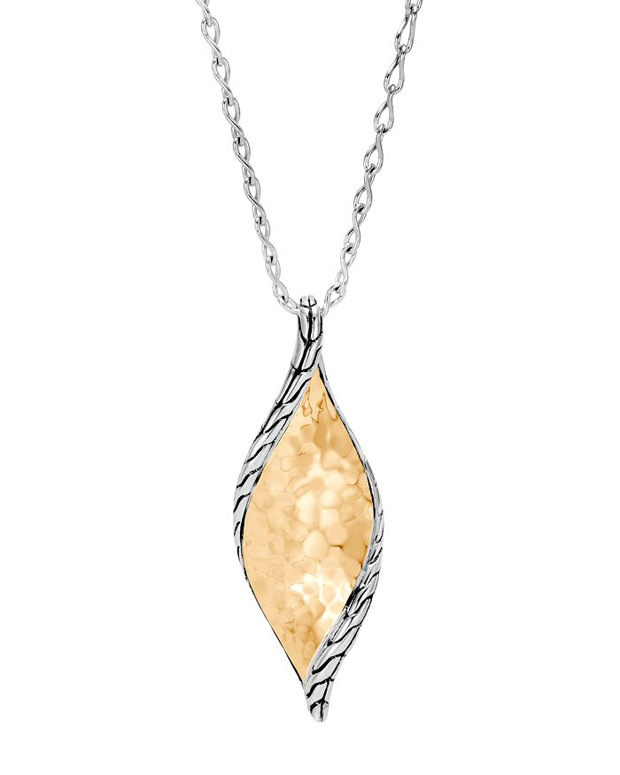 John Hardy 18K Yellow Gold & Sterling Silver Classic Chain Hammered Wave Pendant Necklace, 18 In Yellow/Silver