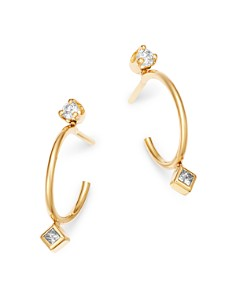 Zoë Chicco - 14K Yellow Gold Round & Princess Diamond Bezel Thin Huggie Earrings