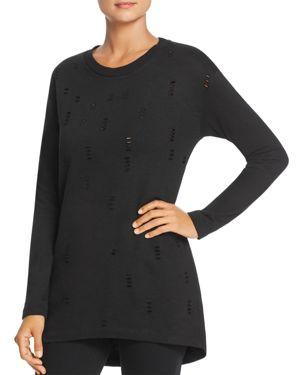 ALISON ANDREWS Distressed Tunic Sweatshirt in Black Vinyl