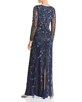 Aidan Mattox - Embellished Sheer-Sleeve Gown