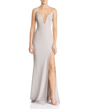 KATIE MAY Plunging Crepe Gown in Dove Gray