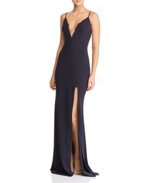 KATIE MAY Plunging Crepe Gown in Navy