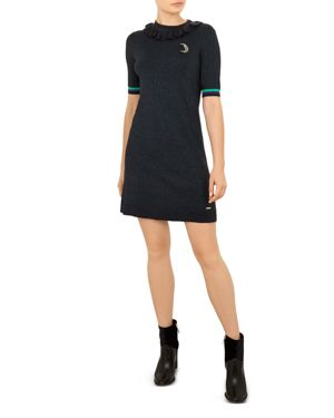 Colour By Numbers Sabie Metallic Knit Dress in 14-Blue