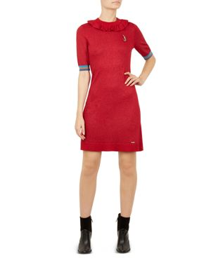 Colour By Numbers Sabie Metallic Knit Dress in 40-Dark Red