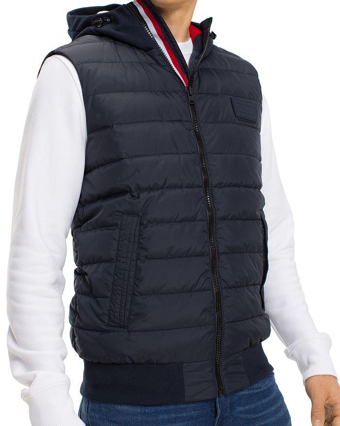Tommy Hilfiger - Stripe-Trimmed Mixed-Media Puffer Vest