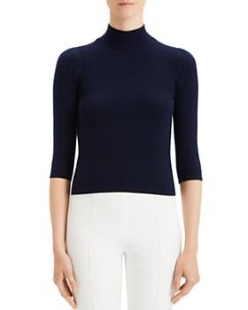 Theory - Cropped Merino Wool Turtleneck Sweater