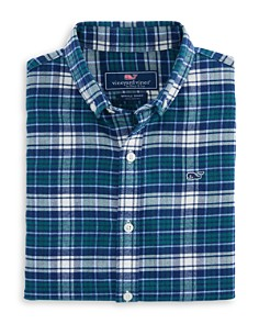Vineyard Vines - Boys' Plaid Cotton Flannel Whale Shirt - Little Kid, Big Kid