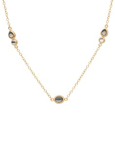 """Anna Beck - Mother of Pearl & Smoky Pyrite Station Necklace in 18K Gold-Plated Sterling Silver, 36"""""""