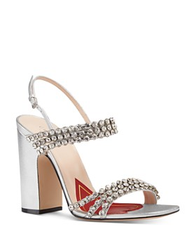 Gucci - Women's Bertie Open-Toe Metallic Leather High-Heel Sandals