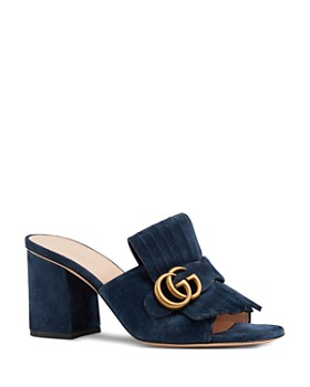 Gucci - Women's Marmont Open-Toe Suede Mid-Heel Slide Sandals