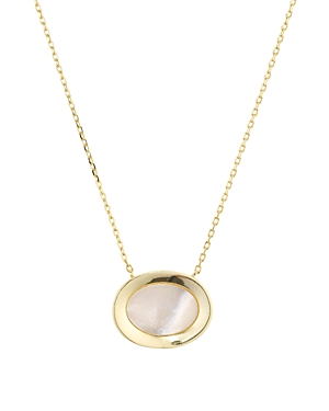 Argento Vivo Framed Mother-of-Pearl Pendant Necklace in 14K Gold-Plated Sterling Silver, 15