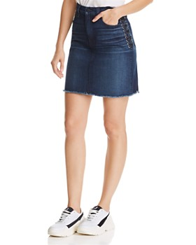 Hudson - Lulu Lace-Up Denim Skirt in Nightfall