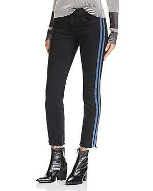 rag & bone/Jean Dre Track Stripe Ankle Slim Boyfriend Jeans in Stone Black
