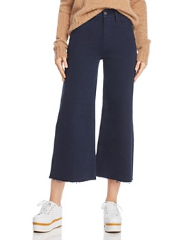 dafc9159d6 FRAME - Le Palazzo Raw-Edge Cropped Jeans in Navy - 100% Exclusive ...