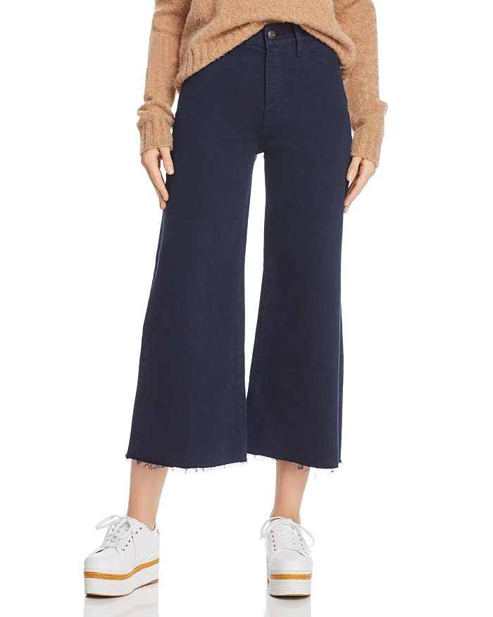 FRAME - Le Palazzo Raw-Edge Cropped Jeans in Navy - 100% Exclusive