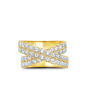 Crislu - Double Stardust Statement Ring in Platinum-Plated Sterling Silver, 18K Rose Gold-Plated Sterling Silver or 18K Yellow Gold-Plated Sterling Silver