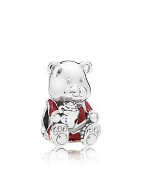 PANDORA - Sterling Silver & Enamel Christmas Bear Charm