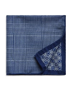 The Men's Store at Bloomingdale's - Medallion/Prince of Wales Plaid Reversible Pocket Square - 100% Exclusive