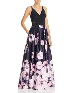 AVERY G Floral Ball Gown in Navy Lilac