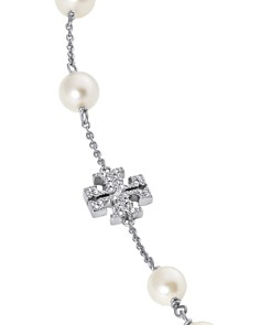 """Tory Burch - Crystal Logo & Simulated Pearl Necklace, 40"""""""