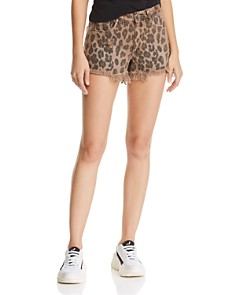 BLANKNYC - Distressed Leopard Print Denim Shorts in Animal