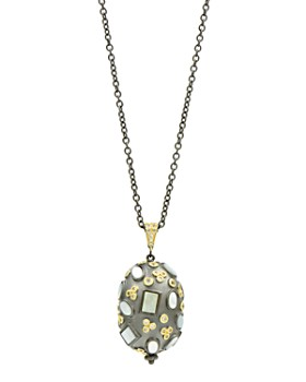 Freida Rothman - Imperial Multi-Stone Pendant Necklace in Black Rhodium-Plated Sterling Silver & 14K Gold-Plated Sterling Silver, 27""