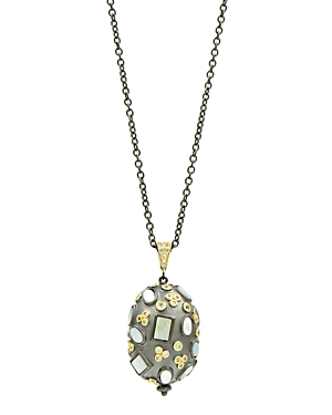 Freida Rothman Imperial Multi-Stone Pendant Necklace in Black Rhodium-Plated Sterling Silver & 14K Gold-Plated Sterling Silver, 27