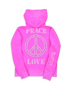 Butter - Girls' Peace & Love Fleece Zip-Up Hoodie - Big Kid, Little Kid