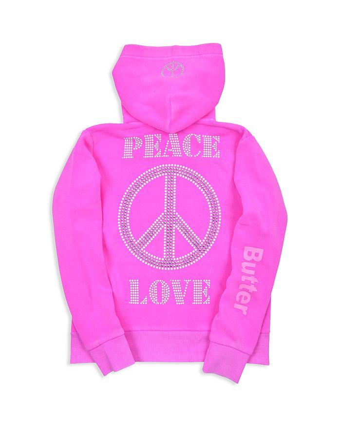 Butter - Girls' Peace & Love Fleece Zip-Up Hoodie - Big Kid, Little Kid