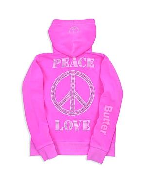 Butter Girls' Peace & Love Fleece Zip-Up Hoodie - Big Kid, Little Kid